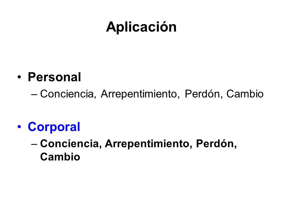 Aplicación Personal –Conciencia, Arrepentimiento, Perdón, Cambio Corporal –Conciencia, Arrepentimiento, Perdón, Cambio