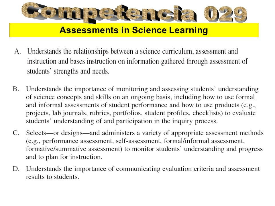 Assessments in Science Learning