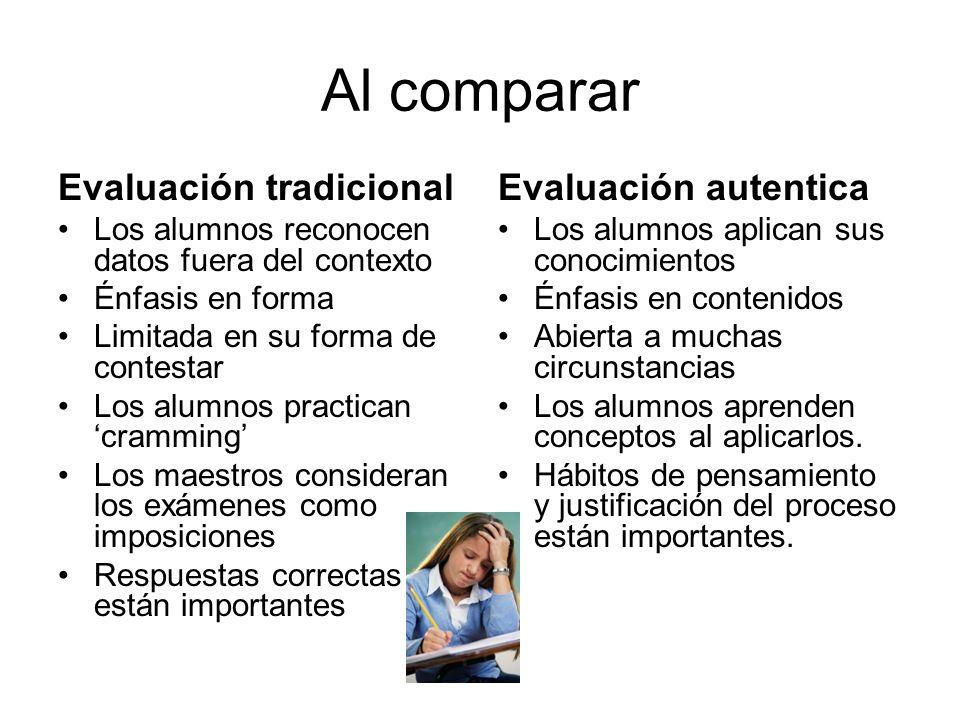 Al comparar Evaluación tradicional Los alumnos reconocen datos fuera del contexto Énfasis en forma Limitada en su forma de contestar Los alumnos pract