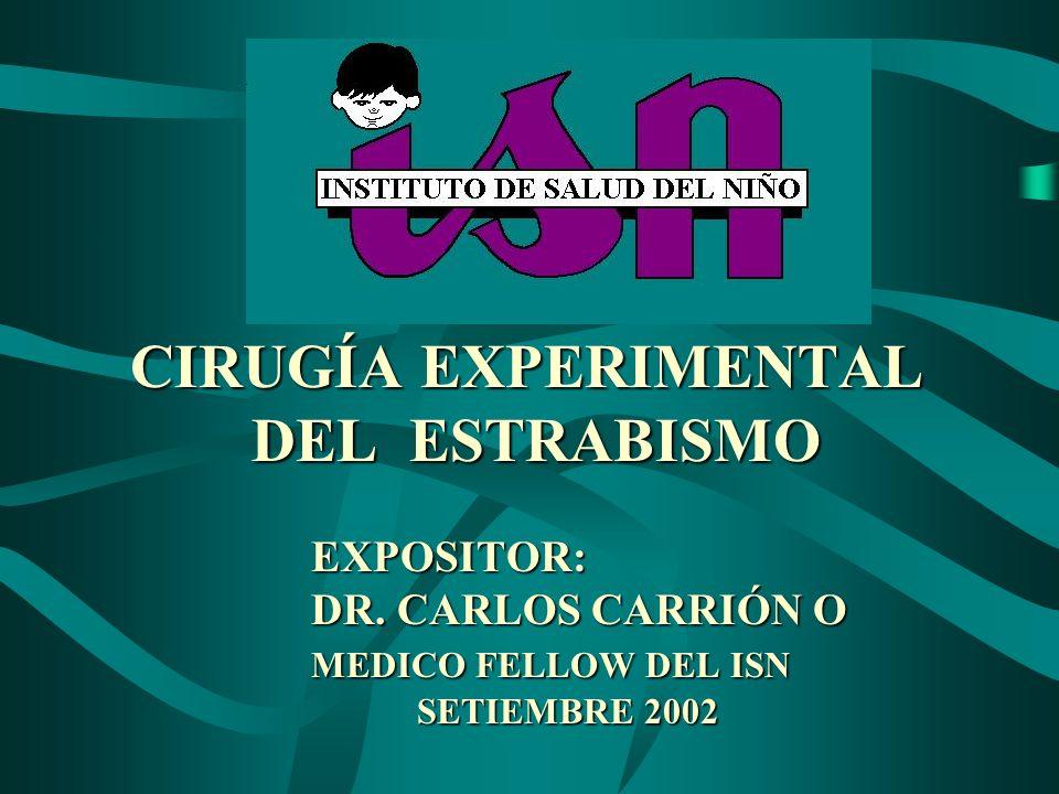 CIRUGÍA EXPERIMENTAL DEL ESTRABISMO EXPOSITOR: DR. CARLOS CARRIÓN O MEDICO FELLOW DEL ISN SETIEMBRE 2002 CIRUGÍA EXPERIMENTAL DEL ESTRABISMO EXPOSITOR