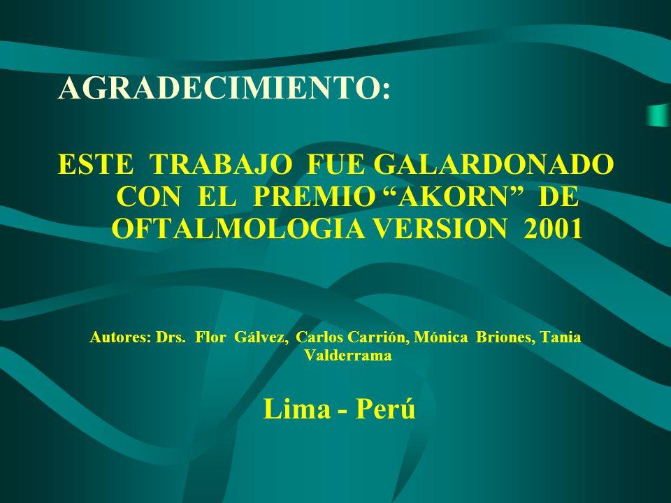 AGRADECIMIENTO: ESTE TRABAJO FUE GALARDONADO CON EL PREMIO AKORN DE OFTALMOLOGIA VERSION 2001 Autores: Drs. Flor Gálvez, Carlos Carrión, Mónica Brione