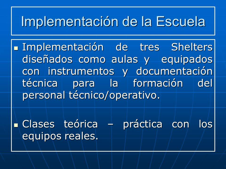 Implementación de la Escuela Implementación de tres Shelters diseñados como aulas y equipados con instrumentos y documentación técnica para la formación del personal técnico/operativo.