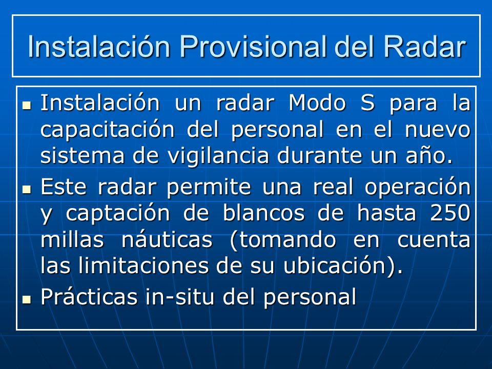 Instalación Provisional del Radar Instalación un radar Modo S para la capacitación del personal en el nuevo sistema de vigilancia durante un año.