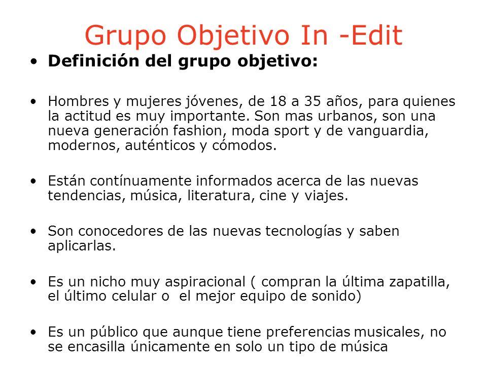 Grupo Objetivo In -Edit Definición del grupo objetivo: Hombres y mujeres jóvenes, de 18 a 35 años, para quienes la actitud es muy importante. Son mas