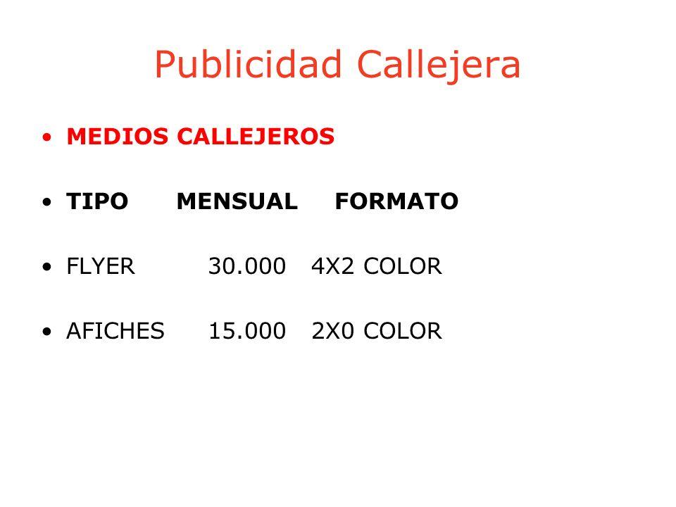 Publicidad Callejera MEDIOS CALLEJEROS TIPOMENSUAL FORMATO FLYER 30.000 4X2 COLOR AFICHES 15.000 2X0 COLOR