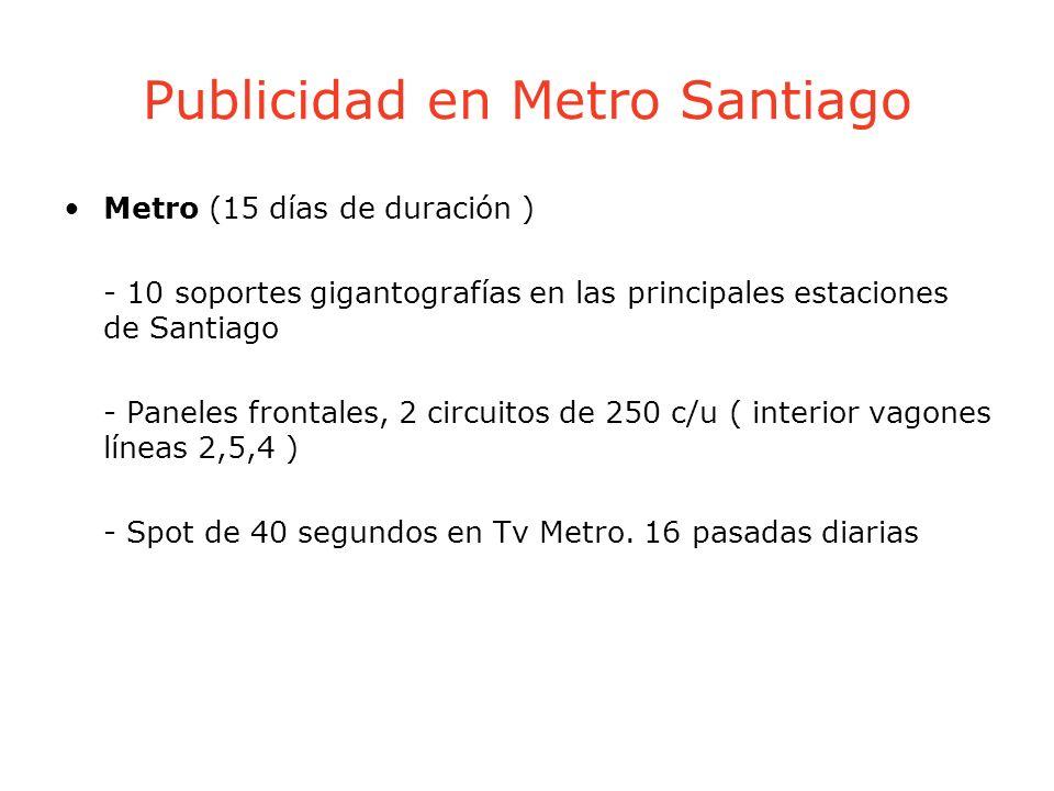 Publicidad en Metro Santiago Metro (15 días de duración ) - 10 soportes gigantografías en las principales estaciones de Santiago - Paneles frontales,