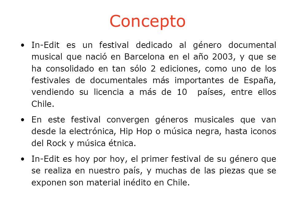 Concepto In-Edit es un festival dedicado al género documental musical que nació en Barcelona en el año 2003, y que se ha consolidado en tan sólo 2 edi
