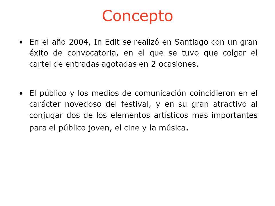 Concepto En el año 2004, In Edit se realizó en Santiago con un gran éxito de convocatoria, en el que se tuvo que colgar el cartel de entradas agotadas