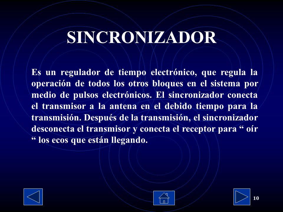 10 Es un regulador de tiempo electrónico, que regula la operación de todos los otros bloques en el sistema por medio de pulsos electrónicos. El sincro