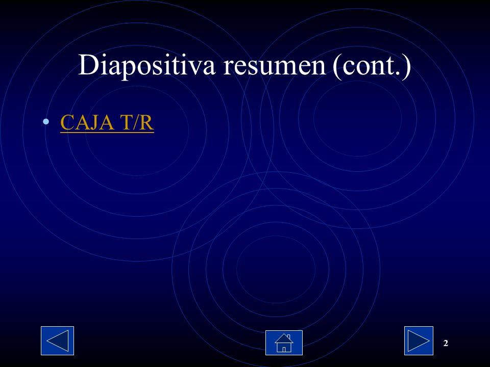 2 Diapositiva resumen (cont.) CAJA T/R