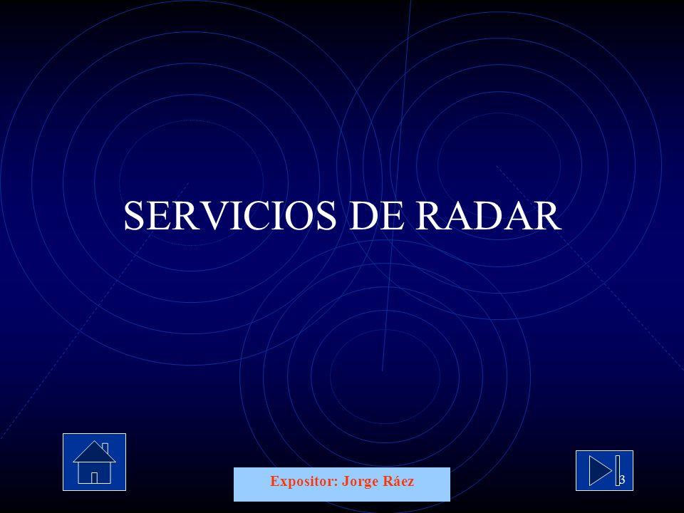 Expositor: Jorge Ráez 3 SERVICIOS DE RADAR