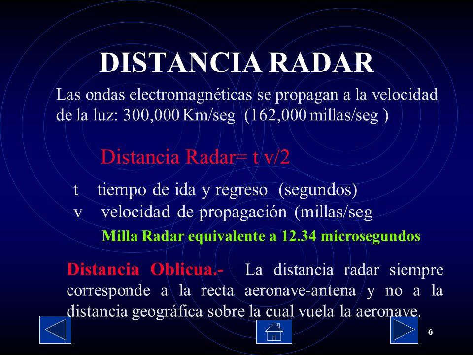 6 Las ondas electromagnéticas se propagan a la velocidad de la luz: 300,000 Km/seg (162,000 millas/seg ) Distancia Radar= t v/2 t tiempo de ida y regr