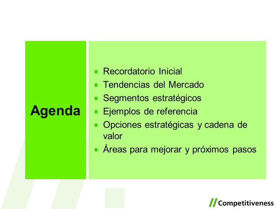 Recordatorio Inicial Tendencias del Mercado Segmentos estratégicos Ejemplos de referencia Opciones estratégicas y cadena de valor Áreas para mejorar y próximos pasos Agenda