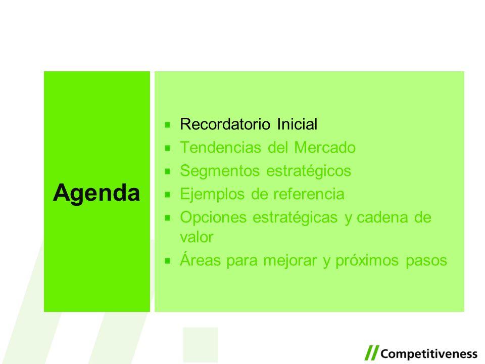 Recordatorio Inicial Tendencias del Mercado Segmentos estratégicos Ejemplos de referencia Opciones estratégicas y cadena de valor Áreas para mejorar y