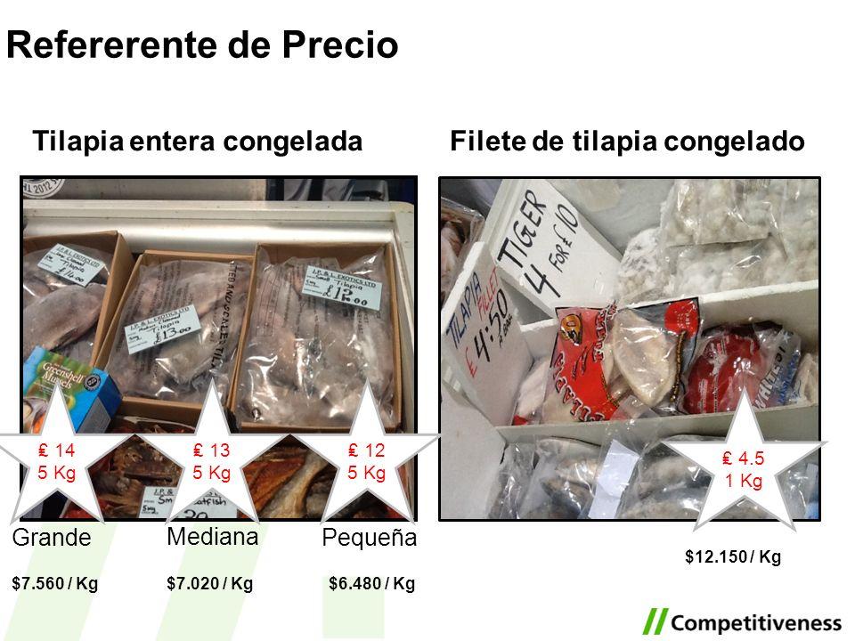 Tilapia entera congelada 13 5 Kg 12 5 Kg 14 5 Kg Pequeña Mediana Grande Filete de tilapia congelado 4.5 1 Kg $7.560 / Kg$7.020 / Kg$6.480 / Kg $12.150