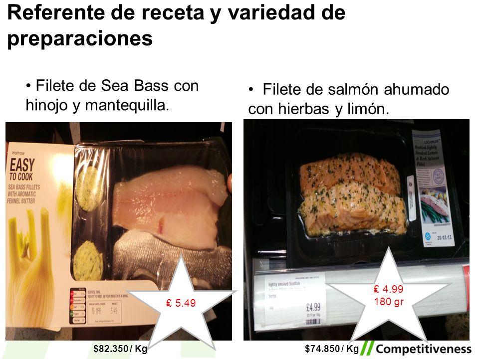 5.49 Filete de Sea Bass con hinojo y mantequilla. 4.99 180 gr Filete de salmón ahumado con hierbas y limón. $82.350 / Kg$74.850 / Kg Referente de rece