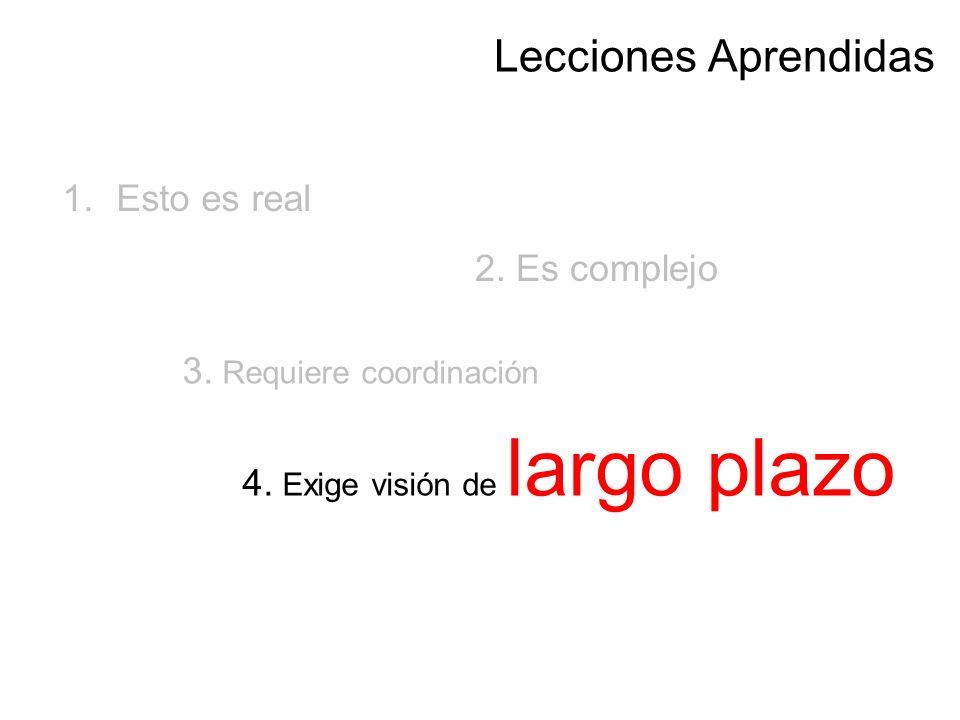 2. Es complejo 1.Esto es real 3. Requiere coordinación 4. Exige visión de largo plazo Lecciones Aprendidas