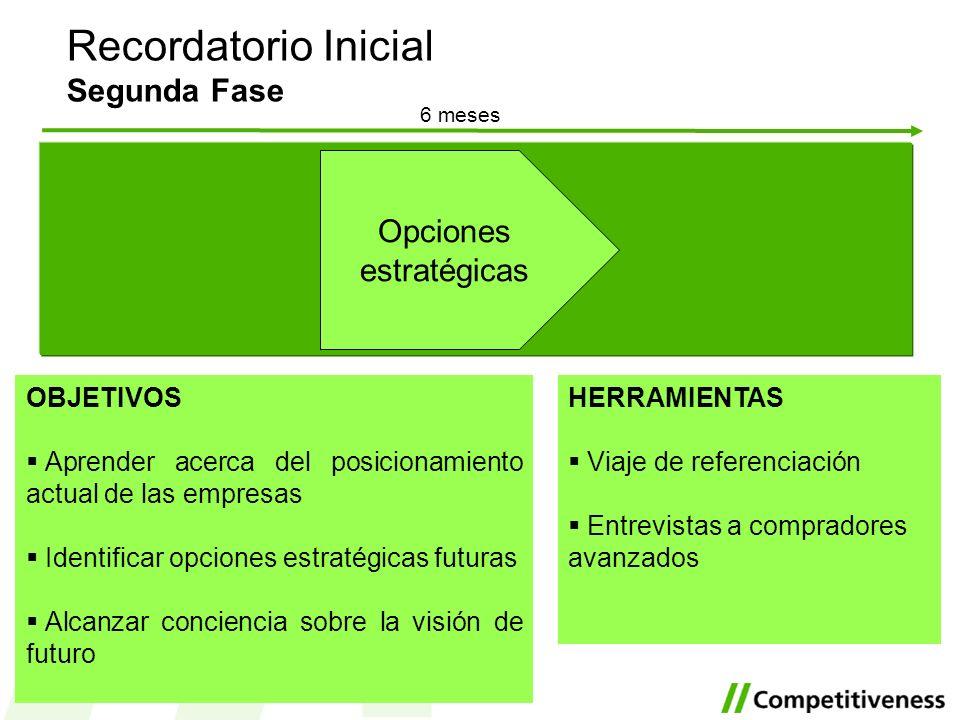 6 meses Recordatorio Inicial Segunda Fase OBJETIVOS Aprender acerca del posicionamiento actual de las empresas Identificar opciones estratégicas futur