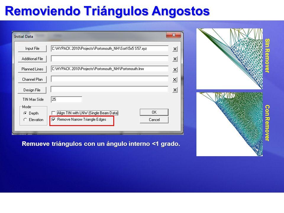 Removiendo Triángulos Angostos Remueve triángulos con un ángulo interno <1 grado Remueve triángulos con un ángulo interno <1 grado. Sin Remover Con Re