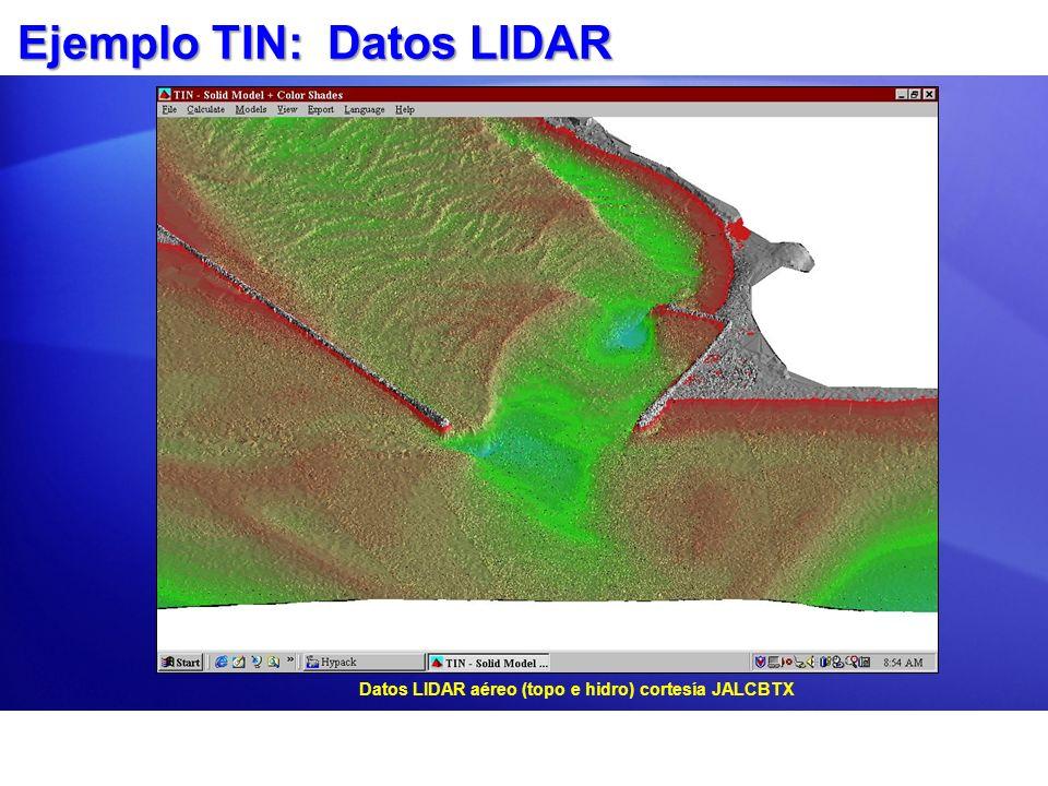 Ejemplo TIN: Datos LIDAR Datos LIDAR aéreo (topo e hidro) cortesía JALCBTX