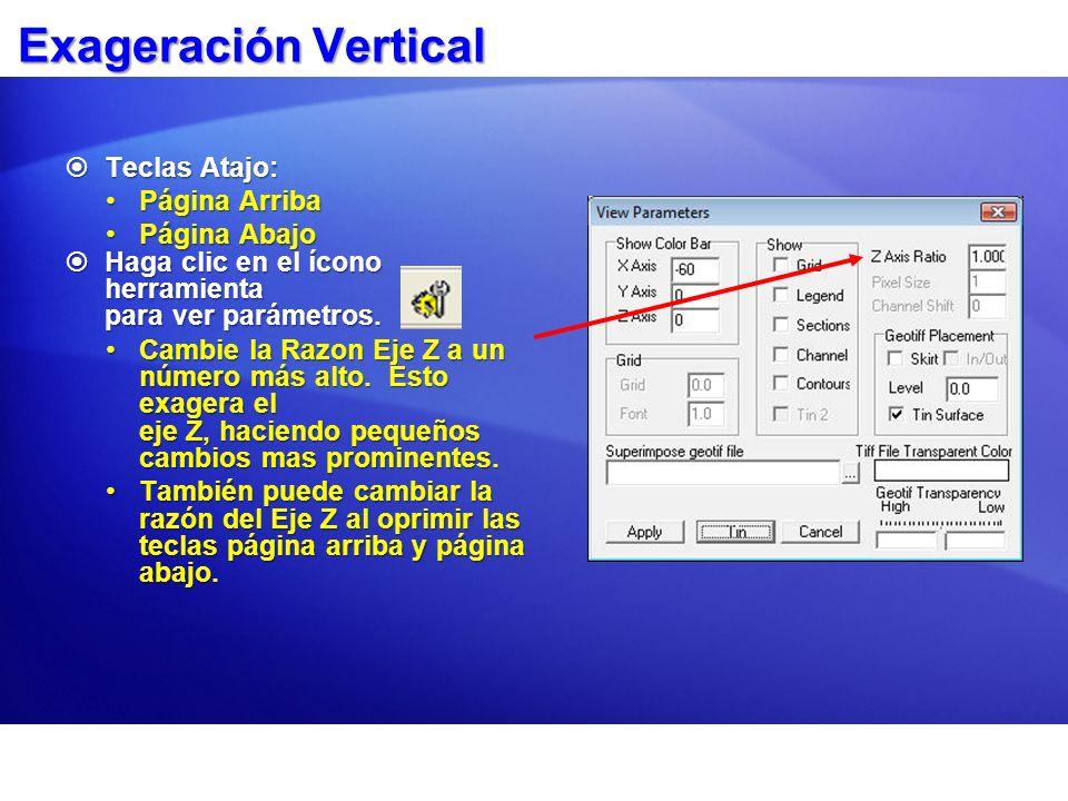 Exageración Vertical Teclas Atajo: Teclas Atajo: Página ArribaPágina Arriba Página AbajoPágina Abajo Haga clic en el ícono herramienta para ver paráme