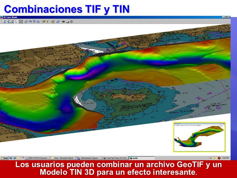 Combinaciones TIF y TIN Los usuarios pueden combinar un archivo GeoTIF y un Modelo TIN 3D para un efecto interesante.