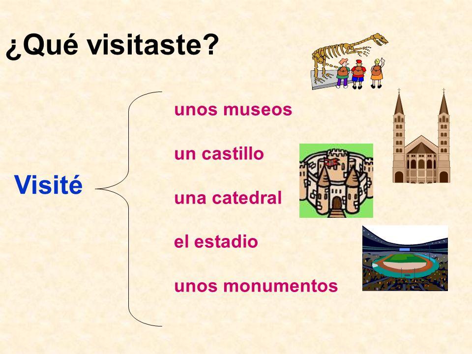¿Qué visitaste? Visité unos museos un castillo una catedral el estadio unos monumentos