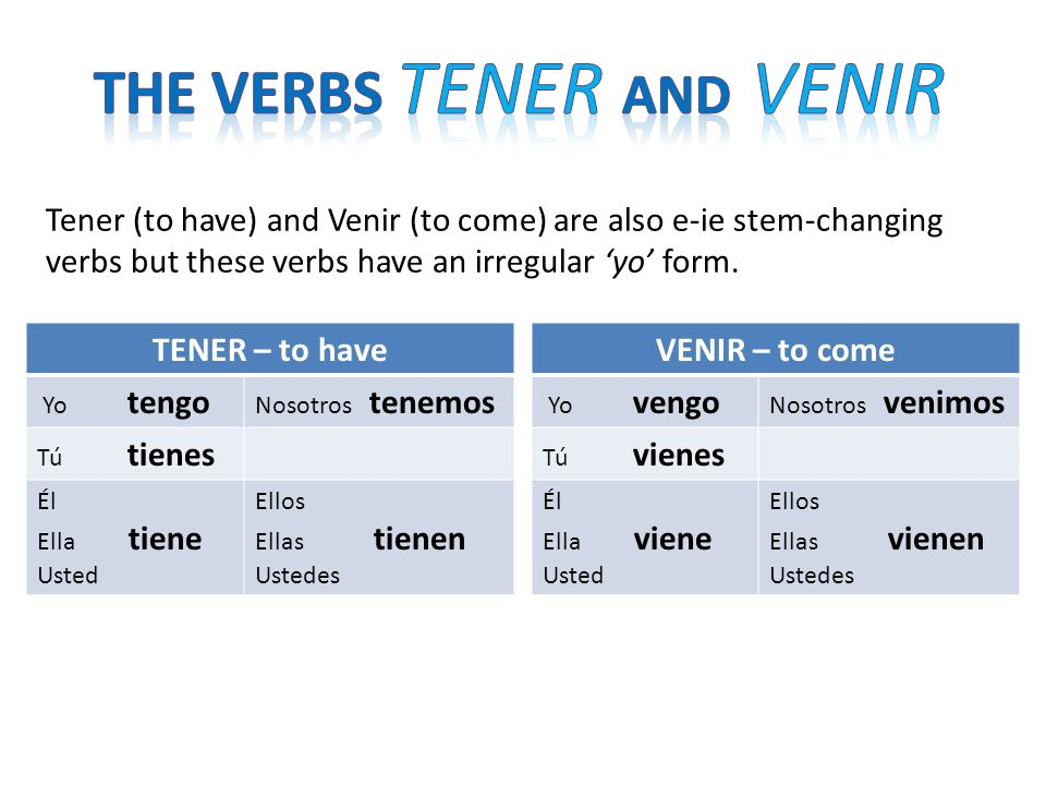 Tener (to have) and Venir (to come) are also e-ie stem-changing verbs but these verbs have an irregular yo form. TENER – to have Yo tengo Nosotros ten