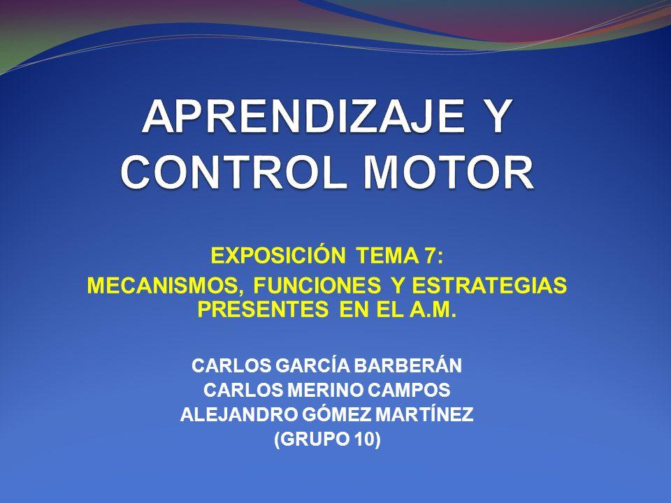 EXPOSICIÓN TEMA 7: MECANISMOS, FUNCIONES Y ESTRATEGIAS PRESENTES EN EL A.M. CARLOS GARCÍA BARBERÁN CARLOS MERINO CAMPOS ALEJANDRO GÓMEZ MARTÍNEZ (GRUP