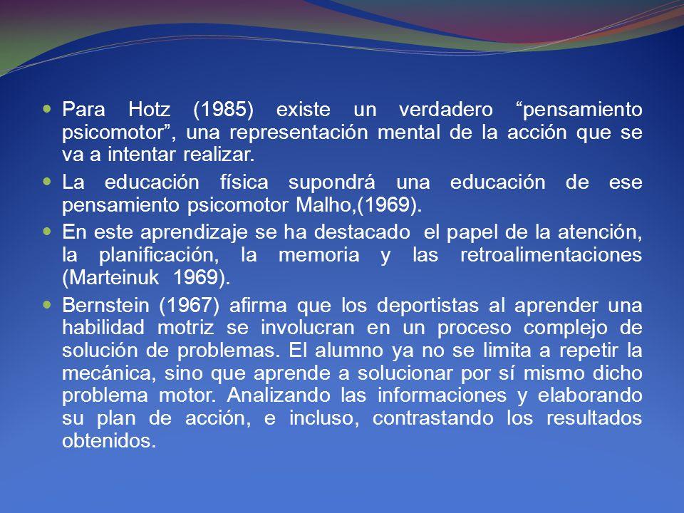 Para Hotz (1985) existe un verdadero pensamiento psicomotor, una representación mental de la acción que se va a intentar realizar. La educación física