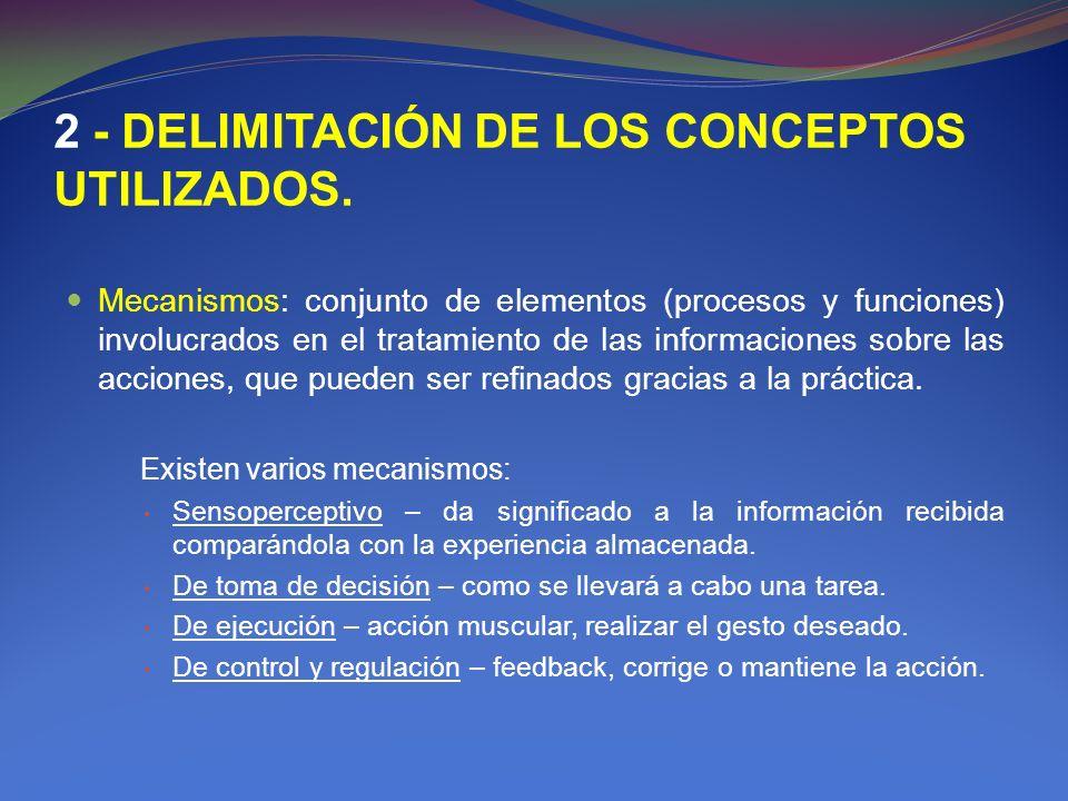 2 - DELIMITACIÓN DE LOS CONCEPTOS UTILIZADOS. Mecanismos: conjunto de elementos (procesos y funciones) involucrados en el tratamiento de las informaci