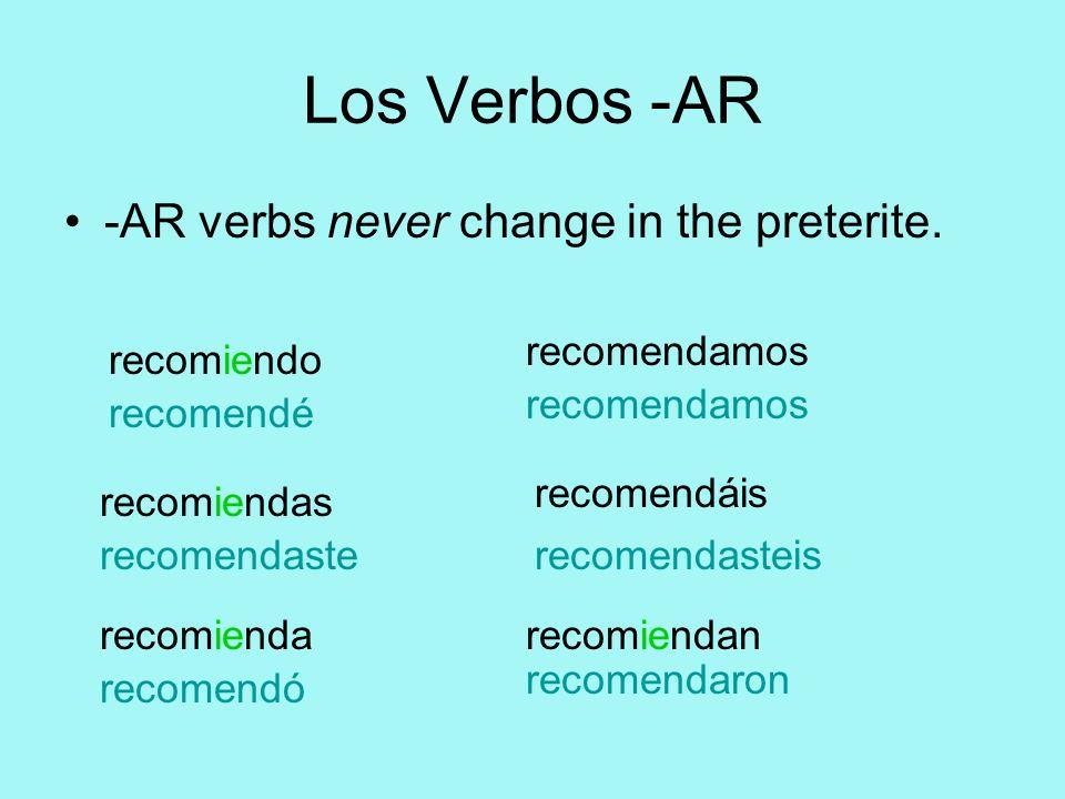 Los Verbos -AR -AR verbs never change in the preterite. recomendé recomendaste recomendó recomendamos recomendasteis recomendaron recomiendo recomiend