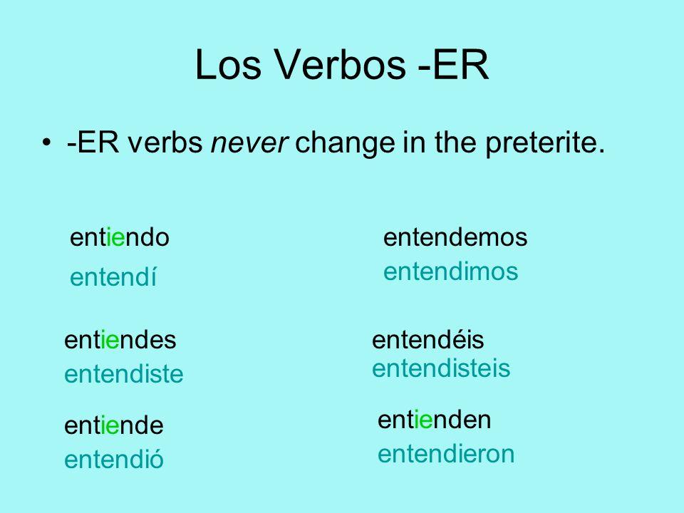Los Verbos -ER -ER verbs never change in the preterite. entiendo entiendes entiende entendemos entendéis entienden entendí entendiste entendió entendi