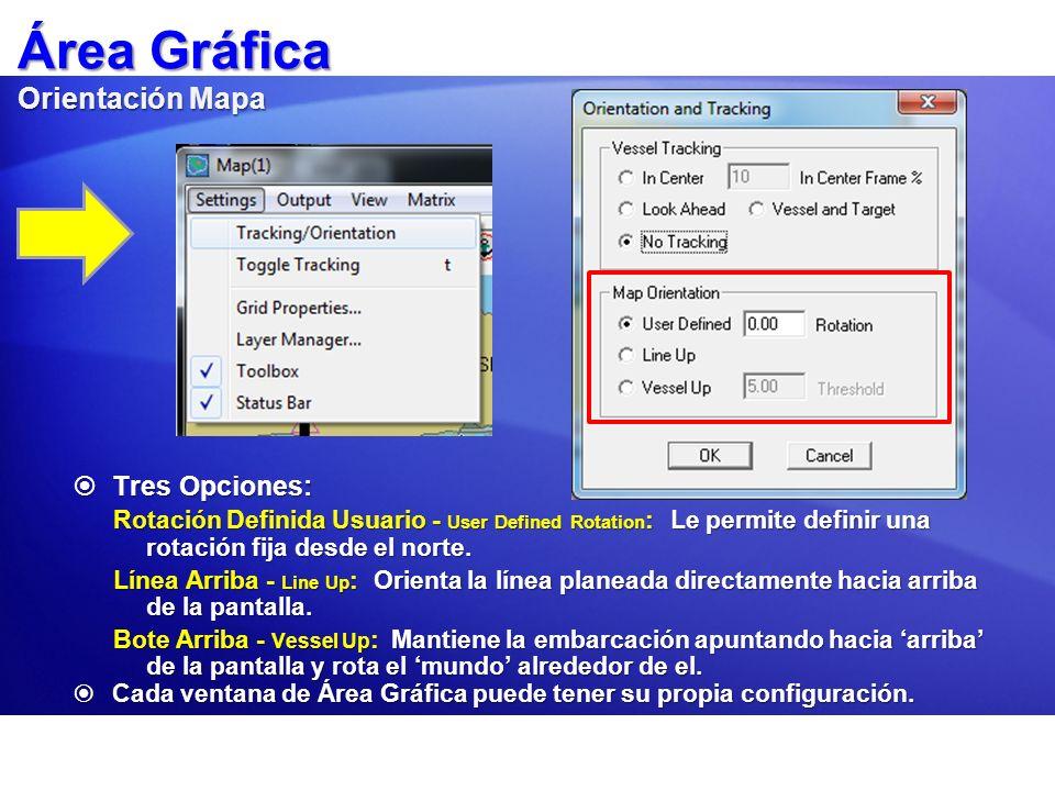 Área Gráfica Orientación Mapa Tres Opciones: Tres Opciones: Rotación Definida Usuario - User Defined Rotation : Le permite definir una rotación fija d