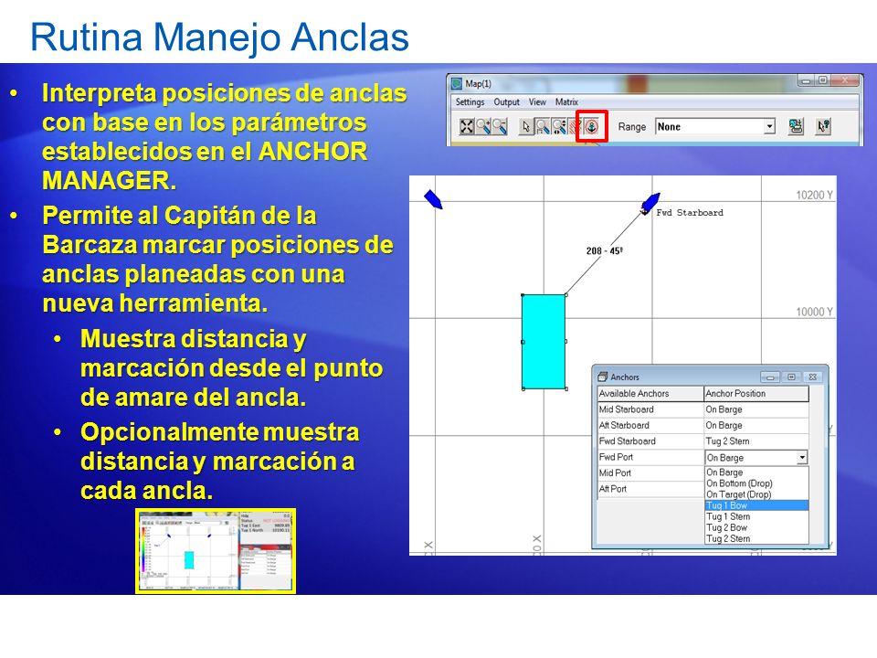 Rutina Manejo Anclas Interpreta posiciones de anclas con base en los parámetros establecidos en el ANCHOR MANAGER.Interpreta posiciones de anclas con
