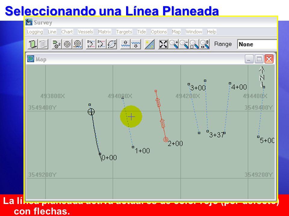 Seleccionando una Línea Planeada La línea planeada activa actual es de color rojo (por defecto) con flechas. MétodoAcción/Resultado Teclado: CTRL-I In