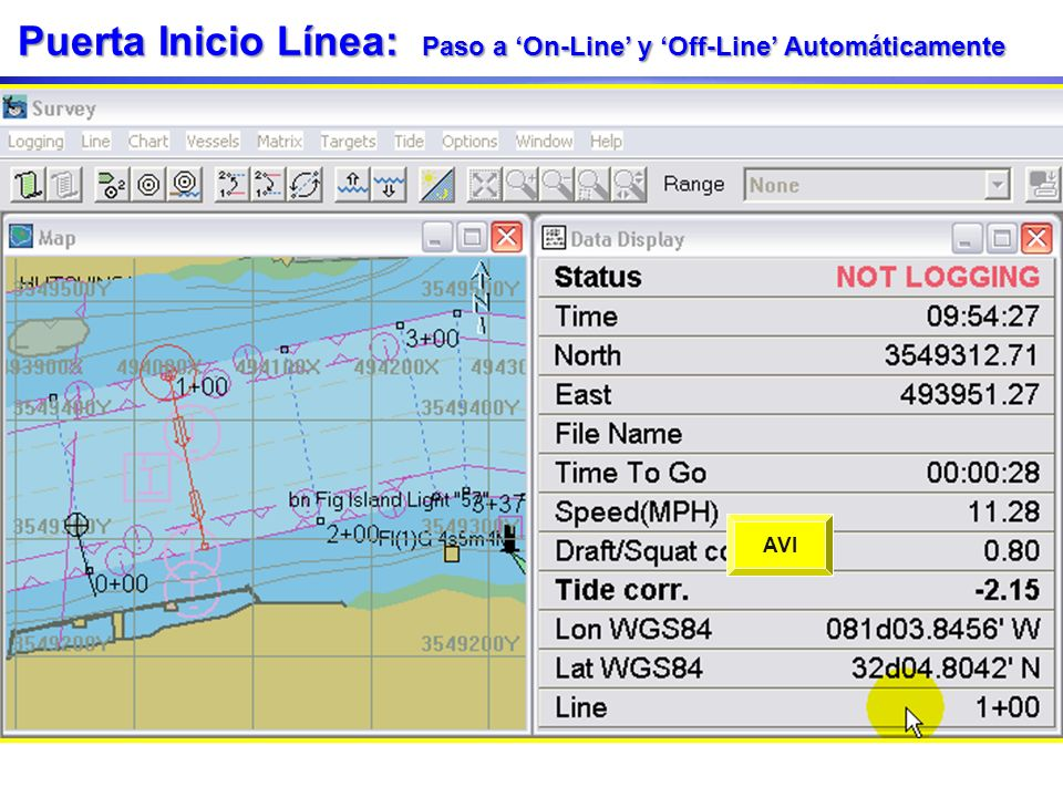 Puerta Inicio Línea: Paso a On-Line y Off-Line Automáticamente Defina la distancia de Puerta Inicio Línea - Start Line Gate en la ventana Parámetros N