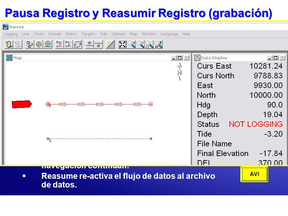 Pausa Registro y Reasumir Registro (grabación) Pausa detiene la salida de info al archivo de datos. El archivo aun esta abierto y las funciones de nav