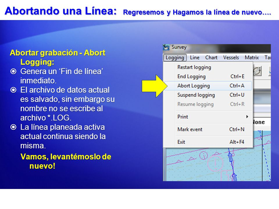 Abortando una Línea: Regresemos y Hagamos la línea de nuevo…. Abortar grabación - Abort Logging: Genera un Fin de línea inmediato. Genera un Fin de lí
