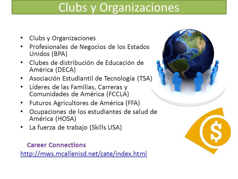Clubs y Organizaciones Profesionales de Negocios de los Estados Unidos (BPA) Clubes de distribución de Educación de América (DECA) Asociación Estudiantil de Tecnología (TSA) Líderes de las Familias, Carreras y Comunidades de América (FCCLA) Futuros Agricultores de América (FFA) Ocupaciones de los estudiantes de salud de América (HOSA) La fuerza de trabajo (Skills USA) Career Connections http://mws.mcallenisd.net/cate/index.html