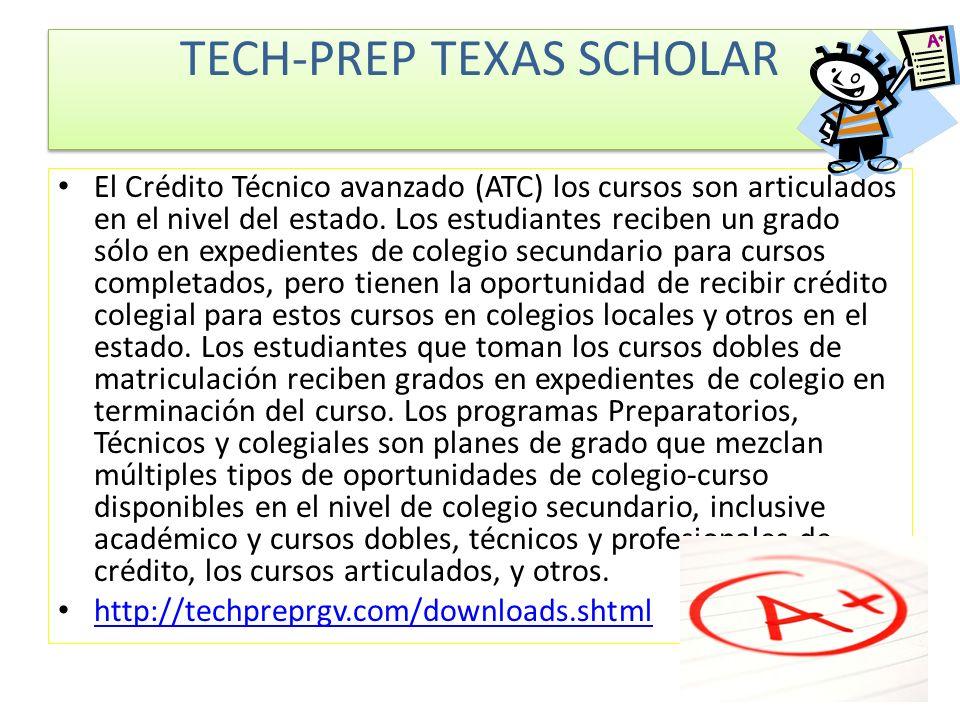 El Crédito Técnico avanzado (ATC) los cursos son articulados en el nivel del estado.