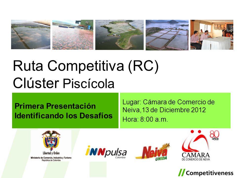 Ruta Competitiva (RC) Clúster Piscícola Lugar: Cámara de Comercio de Neiva,13 de Diciembre 2012 Hora: 8:00 a.m. Primera Presentación Identificando los
