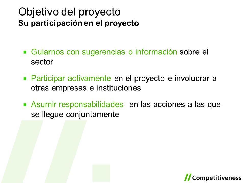 Guiarnos con sugerencias o información sobre el sector Participar activamente en el proyecto e involucrar a otras empresas e instituciones Asumir resp