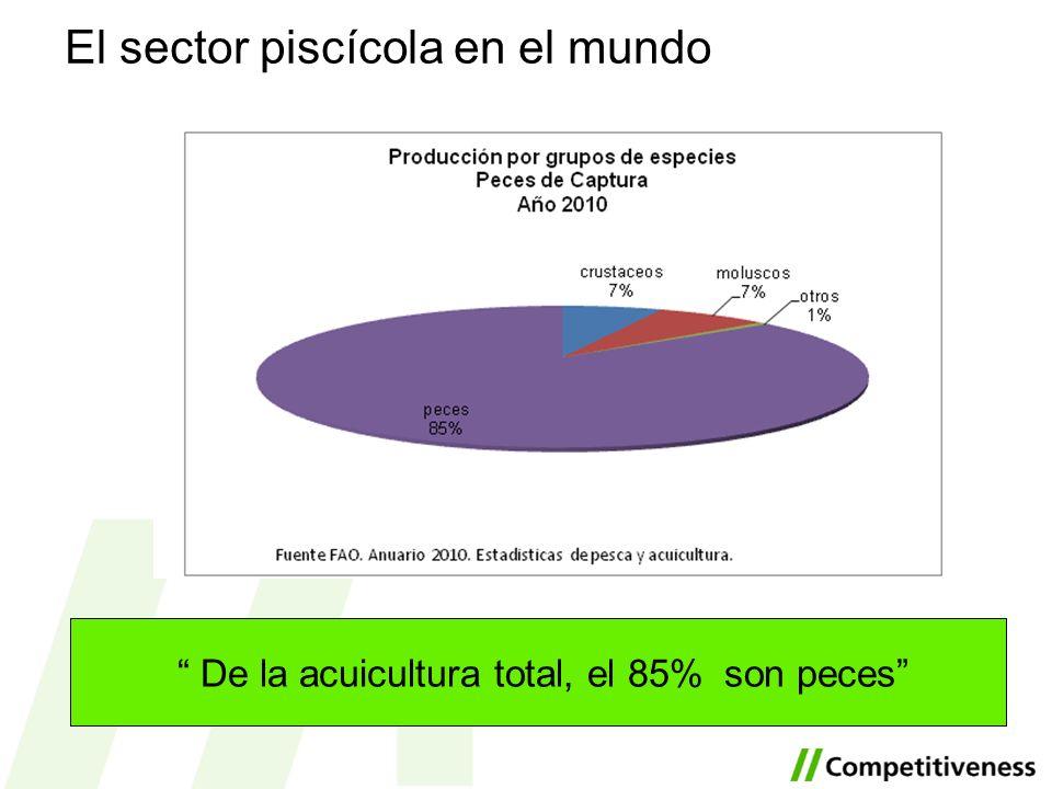 El sector piscícola en el mundo De la acuicultura total, el 85% son peces