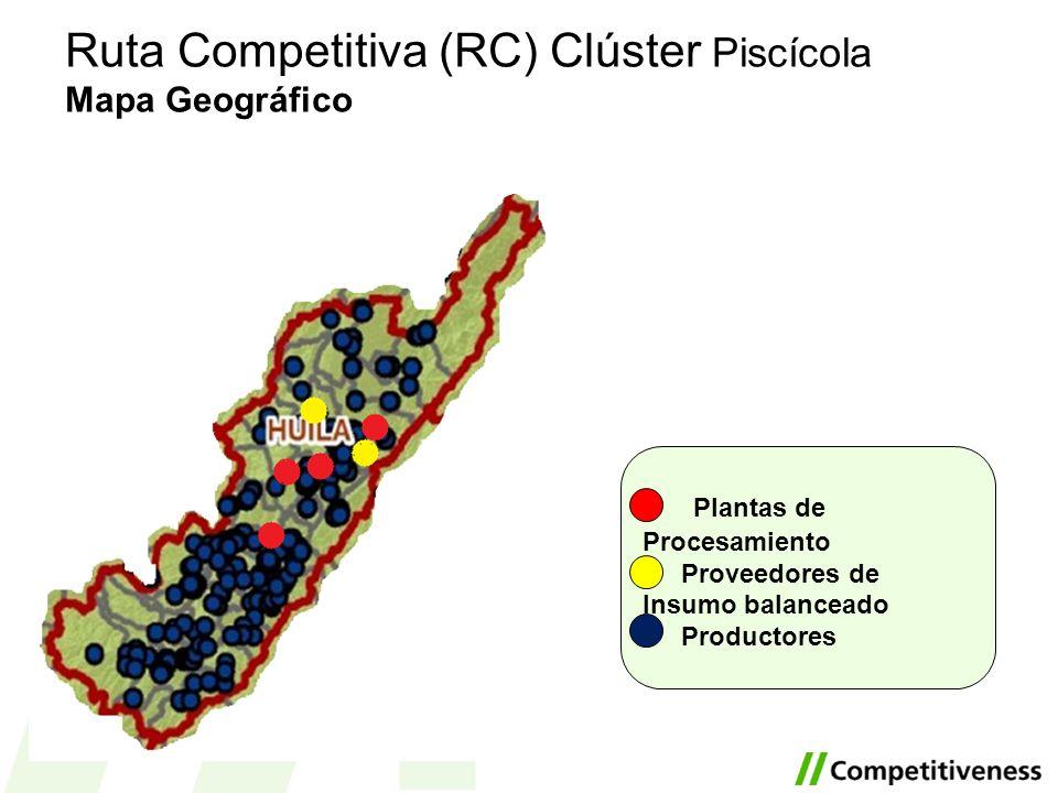 Ruta Competitiva (RC) Clúster Piscícola Mapa Geográfico Plantas de Procesamiento Proveedores de Insumo balanceado Productores