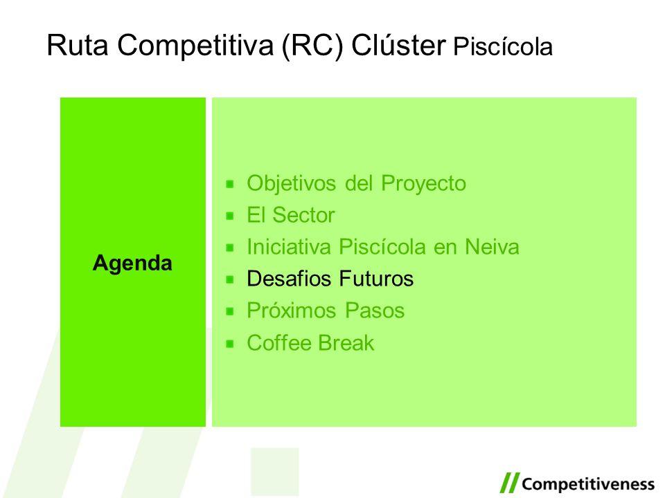 Ruta Competitiva (RC) Clúster Piscícola Objetivos del Proyecto El Sector Iniciativa Piscícola en Neiva Desafios Futuros Próximos Pasos Coffee Break Ag