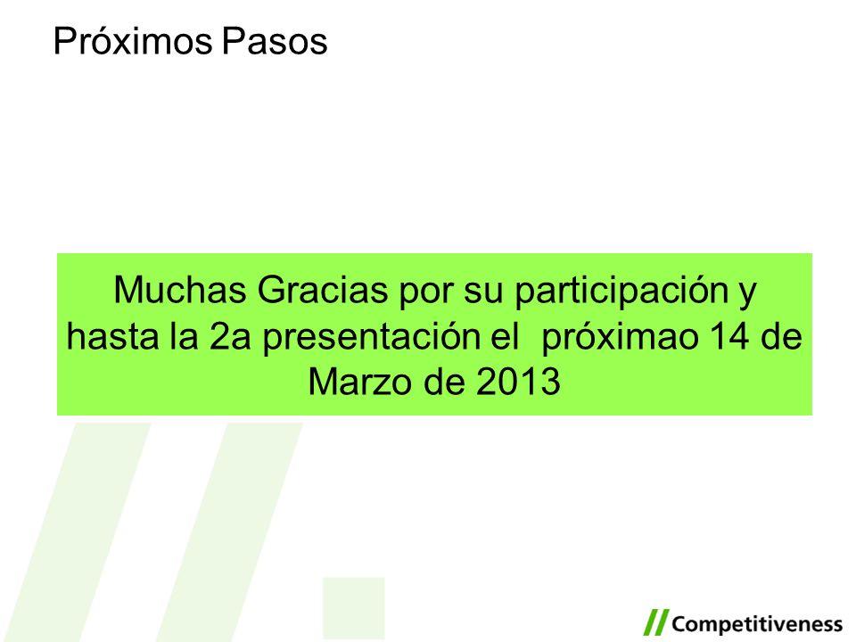 Próximos Pasos Muchas Gracias por su participación y hasta la 2a presentación el próximao 14 de Marzo de 2013