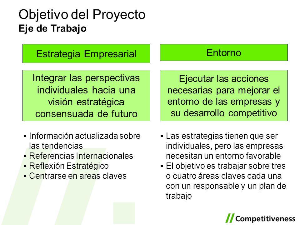 Objetivo del Proyecto Eje de Trabajo Ejecutar las acciones necesarias para mejorar el entorno de las empresas y su desarrollo competitivo Las estrateg