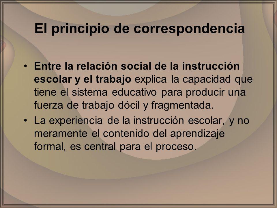 El principio de correspondencia Entre la relación social de la instrucción escolar y el trabajo explica la capacidad que tiene el sistema educativo pa