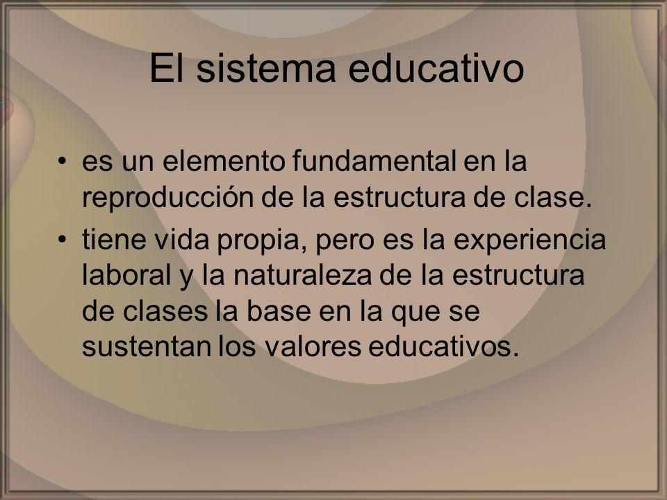 El sistema educativo es un elemento fundamental en la reproducción de la estructura de clase. tiene vida propia, pero es la experiencia laboral y la n